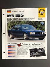 "1988 - 1997 BMW M5 Sedan IMP ""Hot Cars"" Spec Sheet Folder Brochure Awesome L@@K"