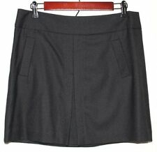 Women's J. Crew Black Wool Blend Stetch Front Pleat Skirt Size: 6 Above Knee