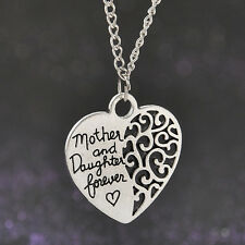 """Women 18"""" Silver Mother and daughter Forever"""" Heart Pendant Necklace Chain Gift"""