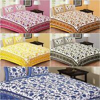 Rajasthani Floral Print Jaipuri King Size Cotton Double Bed Sheet 2 Pillow Cover