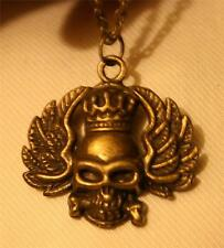 Sculpted Winged Skull Head with Crown Figural Brasstone Pendant Necklace +++