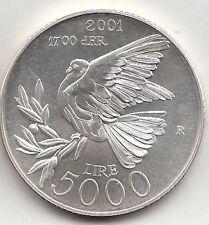 SAN MARINO 2001 LIRE 5000 ARGENTO SILVER  FDC ANNO DELLA PACE Colombo PIGEON