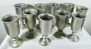Lot of 10 Wilton Armetale Pewter Water Goblets ~ Plough Tavern  ~  USA