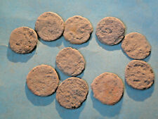 """10 Uncleaned and Unresearched Roman AE4 Bronze Coins all """"as dug""""."""