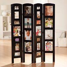 Black 4-Panel Photo Frame Room Divider Screen Home Living Room Furniture