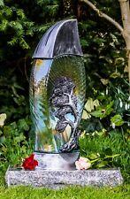 Grablicht 40cm + Kerze Grablaterne Grableuchte Glas Grabschmuck Garten Silber 02