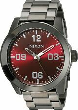 Nixon Men's Corporal SS A3462073-00 48mm Red Dial Stainless Steel Watch