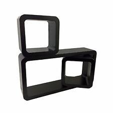 Set of 3 BLACK Rectangle Square Cube Wall Shelves Decor Display CD DVD Storage