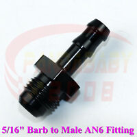 """STRAIGHT MALE FLARE AN6 -6 6AN TO 5/16"""" PUSH LOCK BARB FITTING HOSE ADAPTER 8mm"""