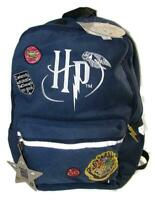 NWT HARRY POTTER 'NO GOOD' Backpack Embroidered Patches Logos Lined Navy Wand