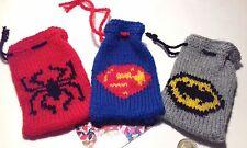 Superhero gift bags knitting pattern:  superman, batman, spiderman