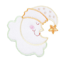 sleepy baby moon motif iron on or sew on  patch appliqué embroidery