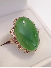 Stunning Estate All 18k Solid Gold Jade Jadeite Ring