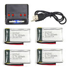 4 Batterires + Charger 3.7V 650mAh Lipo For Syma X5C-1 X5SW RC Quadcopter Drone