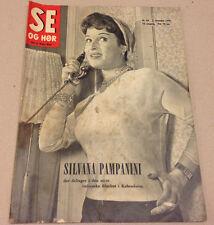 SILVANA PAMPANINI COPENHAGEN VISIT ON FRONT COVER VINTAGE Danish Magazine 1955