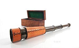 "Brass & Leather Spyglass 16"" w/ Teak Wood Case Antiqued Nautical Telescope New"