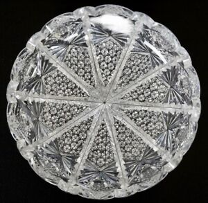 """RARE ANTIQUE ABP HEAVY 8"""" SIGNED HAWKES NAPOLEON PATTERN CUT GLASS LOW BOWL"""
