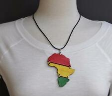 "Black wooden africa map pendant necklace african continent wood 19"" long"