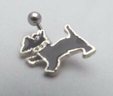 Noir scottie dog belly bar navel ring avec clair cristaux 10mm longueur bar
