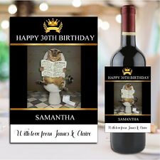 Personalised Happy Birthday Wine Champagne Bottle Sticker Label N187 Any Age