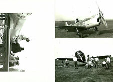 SET OF 3 - LOT #34  B&W 4X6 PHOTOGRAPHS - RACING AIRPLANES & AVIATION