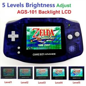 5 Levels Brightness Clear Blue Game Boy Advance Console W/ AGS-101 Backlight LCD