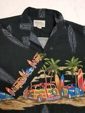 ROYAL HAWAIIAN CREATION SHIRT ~ L ~ BLACK OLD CARS SURFBOARDS 100% COTTON LARGE