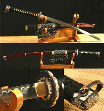 "41""DAMASCUS FOLDED STEEL CLAY TEMPERED ARMY JAPANESE SAMURAI KATANA COPPER LION"