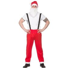 Da Uomo Adulto Workshop SANTA Suit Babbo Natale Fancy Dress Costume Natale xm4608