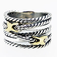 David Yurman Ring Two Row X Collection Silver And 18k Gold