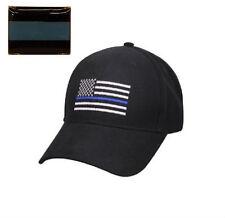 Combo Set Police USA Memorial Thin Blue Line Flag Black Cap Hat & Lapel Pin 1