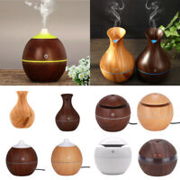 LED USB Wood Grain Ultrasonic Air Humidifier Aroma Essential Oil Diffuser 300ml
