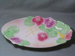"""Avon Ware Hand-Painted Dish Pansy Floral Pattern 12½"""""""