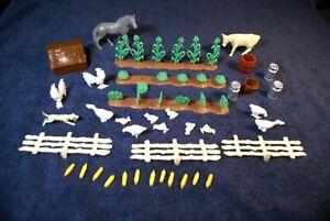 ASSORTED MARX HAPPY TIME FARM PIECES, CROPS , ANIMALS, PLUS