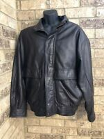 Members Only Dark Brown Leather Bomber Style Jacket Full ZIP Men's Size M