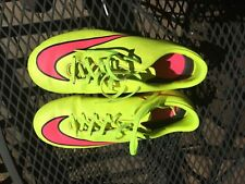 NIKE MERCURIAL SOCCER CLEATS 5 YOUTH NEON YELLOW WITH PINK SWOOSH BIN!