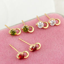 Women's Yellow Gold Filled Small Round Colorful Crystal Stud Earrings Wedding
