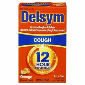 Delsym 12 Hour Relief Cough Suppressant, Orange Flavored Liquid EXP 03/22