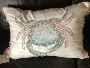 "Coastal Collection Beach Crab Beaded Throw Pillow 20"" X 14"" GORGEOUS! New!"