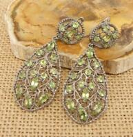 Cut Peridot Black Rhodium Plated 925 Sterling Silver Drop Earrings Jewellery