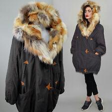 Vintage Echt Fell Kapuze Rot Fuchs Patchwork Pelz Jacke Parka Winter Anorak L 44