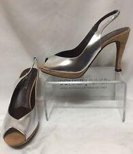 Donald Pliner Couture Cork Metallic Silver Leather Pump Shoe New Slingback $285