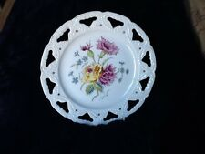 Vintage Porcelain Floral, Plate Pierced Edging To Thread Ribbon If Desired