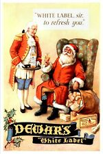Dewar's White Label Whiskey Christmas Advert Vintage Style Metal Sign, Santa