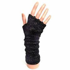 Knitted Long Fingerless Gloves - Black & Silver - Winter Christmas Gift