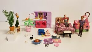 Fisher price loving family & misc dollhouse accessories lot