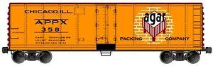 Accurail HO 8326 Agar Packing Company 40' Steel Refrigerator Car #358