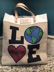 Brighton Leather Jute Tote Bag Purse Love Makes the Earth Go Round Heart