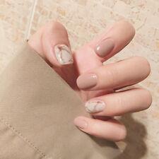 Holiday Gifts 24pcs Light Khaki Short False Nails Artificial Nail Art Patches