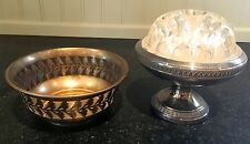 Silver Plated Bowl with Glass Flower Frog ~ Addition Bowl